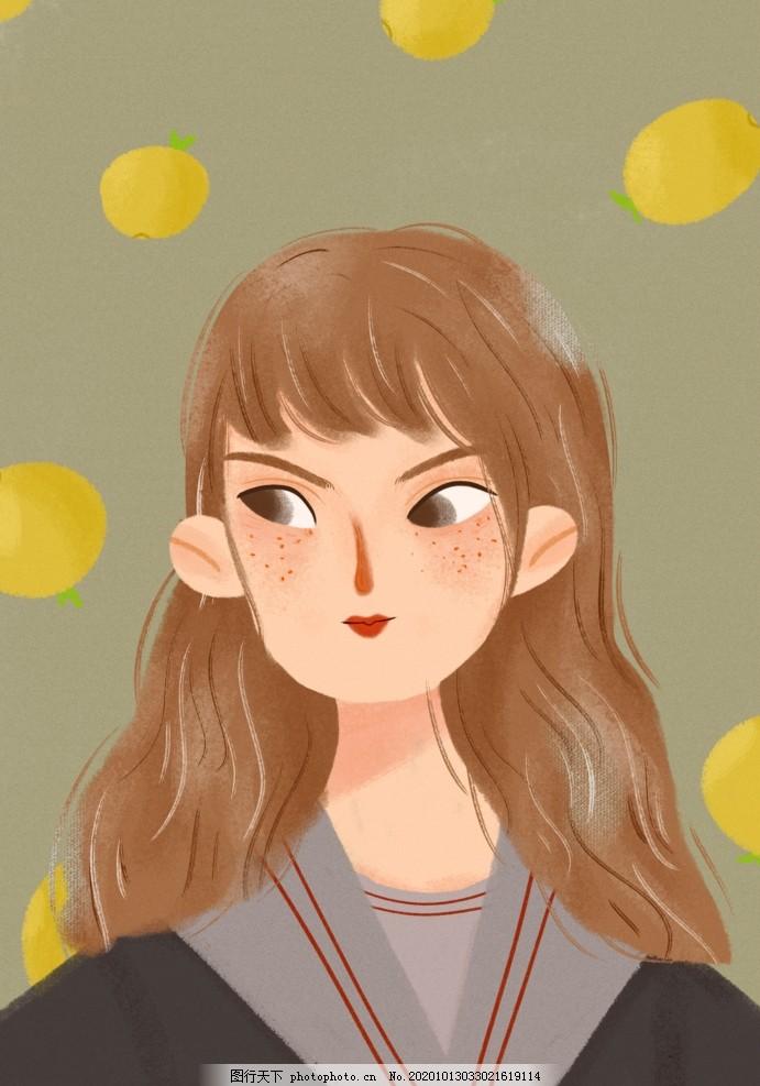 扁平插画柠檬可爱女孩头像图片,插画女孩,插画美女,插画植物,仙人掌,插画多肉,扁平插画女孩