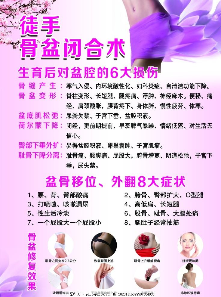 徒手骨盆閉合術圖片,粉色,海報,骨盆修復,中醫推拿,骨盆移位,設計